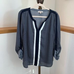 Skies Are Blue White And Navy Blouse